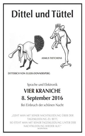 31.08.2016 at SMC/STREAM Festival at Kampnagel 08.09.2016 with Ditterich von Euler-Donnersperg at Kraniche bei den Elbbrücken